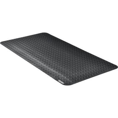 "Global Industrial™ Diamond Plate Ergonomic Mat 15/16"" Thick 2' x 4' Black"