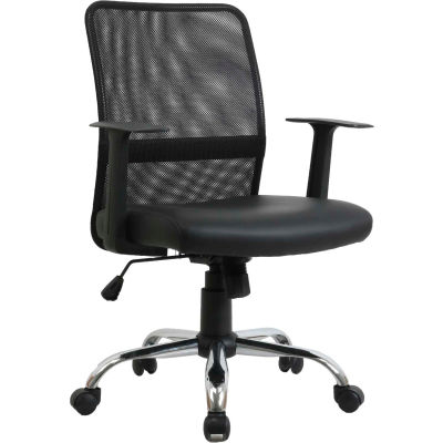 Interion® Mesh Back Task Chair - Leather -  Black