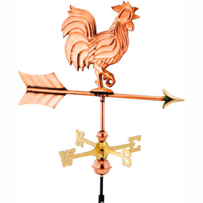 Good Directions Rooster Garden Weathervane, Polished Copper w/Roof Mount