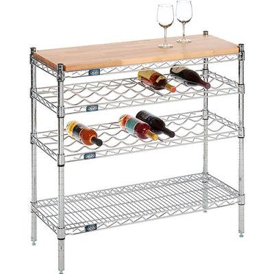 "Nexel® Chrome Wine Display Unit - Wood Top - 36""W x 14""D x 34""H - 4 Tier"