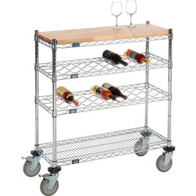 "Mobile Wine Display Unit, 4 Tier, Chrome, Wood Top, 14""W, x 48""L, x 34""H"