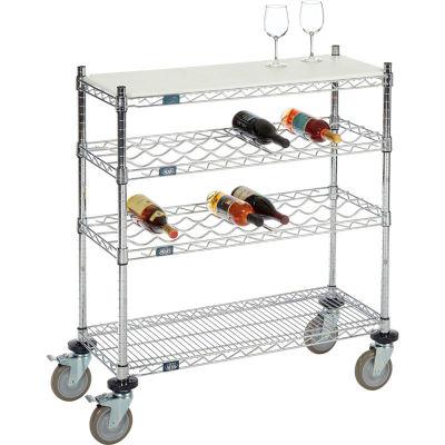 "Mobile Wine Display Unit, 4 Tier, Chrome, Cutting Board Top, 14""W, x 36""L, x 34""H"