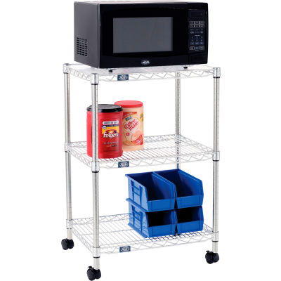 "Nexel® Poly-Z-Brite® 3 Tier, Single Station Wire Microwave Cart, 24""L x 18""W x 36""H"