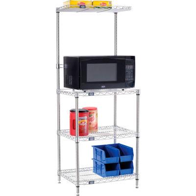 "Nexel® Poly-Z-Brite® Single Station Microwave Shelving - 4 Tier - 24""W x 18""D x 63""H"