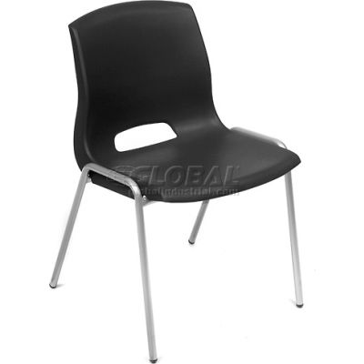 Interion® Stack Chairs - Plastic - Black - Merion Collection - Pkg Qty 4