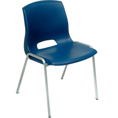 Interion® Merion Collection Stacking Chair With Mid Back, Plastic, Blue - Pkg Qty 4
