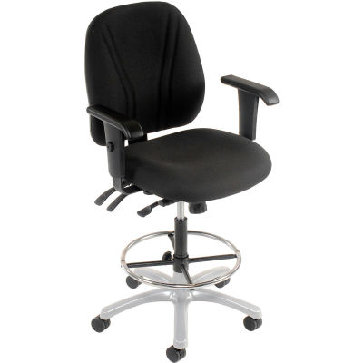Interion® Manager Stool With Arms - Fabric - 360° Footrest - Black