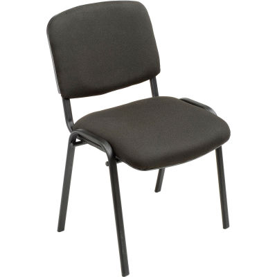 Interion® Stacking Guest Chair (Assembled) - Fabric - Black - Pkg Qty 4