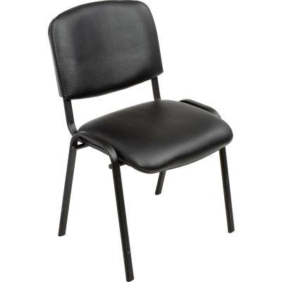 Interion® Stacking Guest Chair (Assembled) - Vinyl - Black - Pkg Qty 4