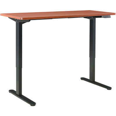 "Interion® Electric Standing Desk - 60""W X 24""D - Cherry w/ Black Base"