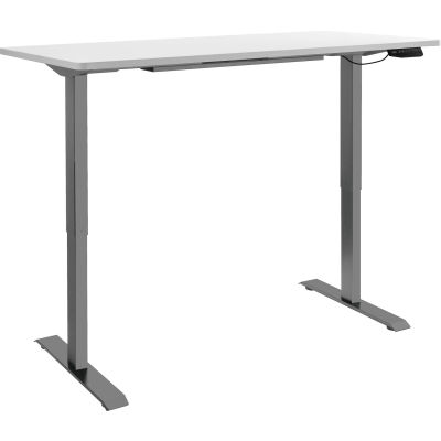 """Interion® Electric Height Adjustable Standing Desk, 60""""W x 30""""D, White W/ Gray Base"""
