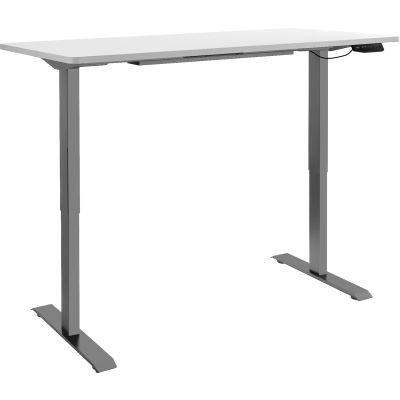 "Interion® Electric Height Adjustable Standing Desk, 60""W x 24""D, White W/ Gray Base"