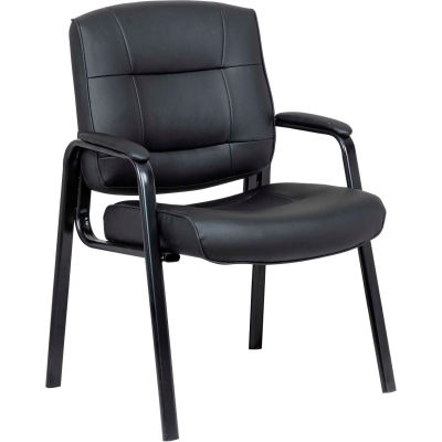 Interion® Leather Guest Chair - Black