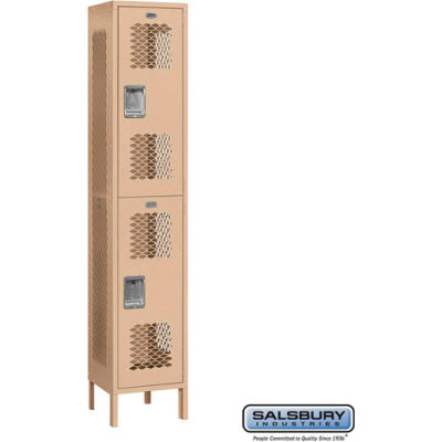 """Extra Wide Vented Metal Locker 82165 - Double Tier 1 Wide 15""""Wx15""""Dx36""""H Tan Assembled"""