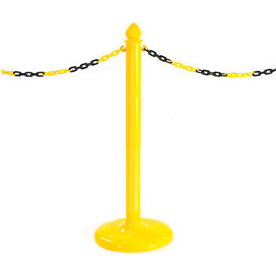 Global Industrial™ Pedestrian Barrier Chain Type Post Non-Reflective With Base - Pkg Qty 6