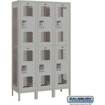 """Double Tier 6 Door Extra Wide Vented Metal Locker, 15""""Wx18""""Dx36""""H, Gray, Unassembled"""