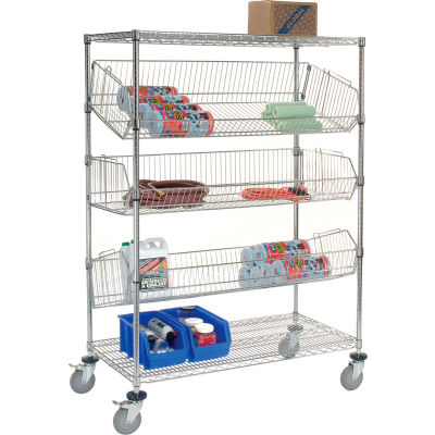 "Adjustable Mobile Wire Bin Rack - 48""W x 24""D x 69""H"