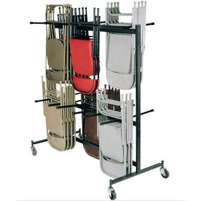 Interion® Chair Cart with Double Tier for Folding Chairs - Holds 84 Chairs