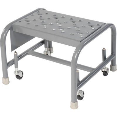 """Perforated 16""""W 1 Step Steel Rolling Ladder 10""""D Top Step - WLSR001166"""