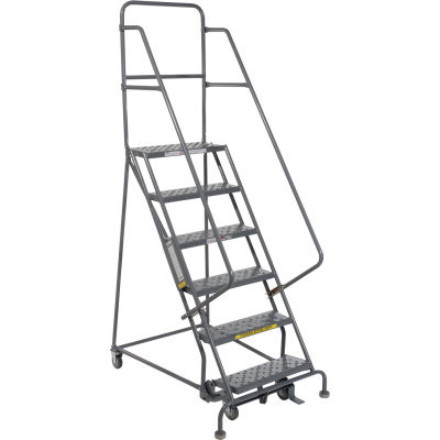 """6 Step 24""""W 10""""D Top Step Steel Rolling Ladder - Perforated Tread - KDSR106246"""