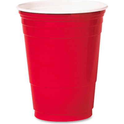 SOLO® SCCP16RLRCT - Party Cold Cups, Red, Polystyrene, 16 Oz., 1,000 Qty.
