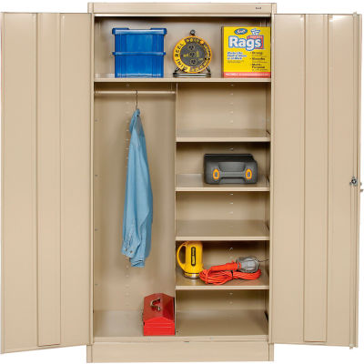 Tennsco Combination Metal Storage Cabinet 1472-SND - 36x18x72 Sand