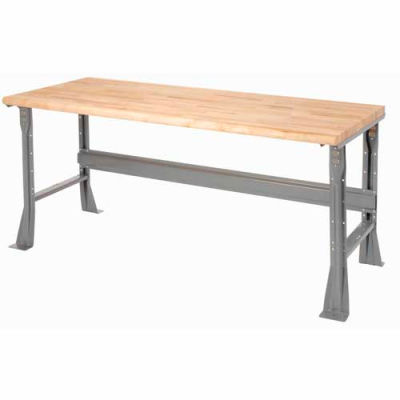Global Industrial™ 60 x 30 x 34 Fixed Height Workbench Flared Leg - Maple Safety Edge - Gray