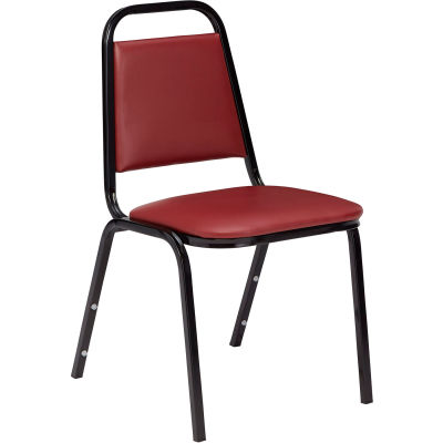 "NPS Stacking Chair - 1-1/2"" Vinyl Seat - Square Back - Burgundy Seat with Black Frame"