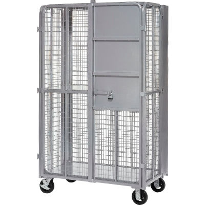 """Global Industrial™ Fold-Up Security Truck, Gray, 27""""W x 44-1/3""""L x 76""""H, 2000 Lb. Capacity"""