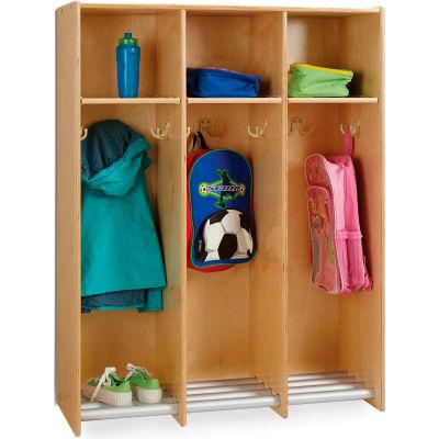"Jonti-Craft® 3-Section Wood Hanging Locker - 36.5""W x 15""D x 48""H"