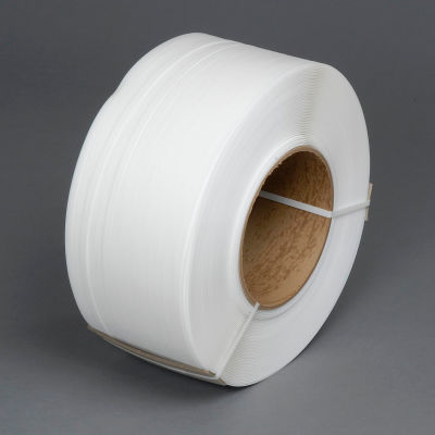 """Pac Strapping 8"""" x 8"""" Core Machine Grade Strapping, 9000'L x 1/2""""W x 0.022"""" Thick, White, 1 Pack"""
