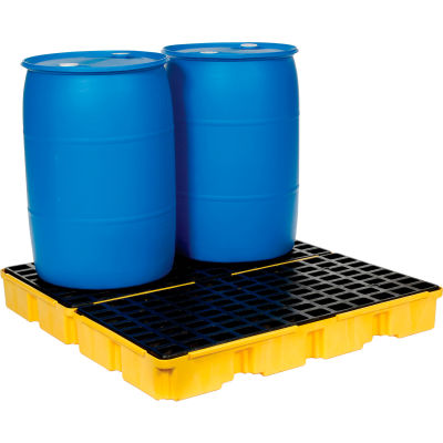 Eagle 1634 4 Drum Spill Containment Modular Platform - 2 Piece - Yellow with No Drain