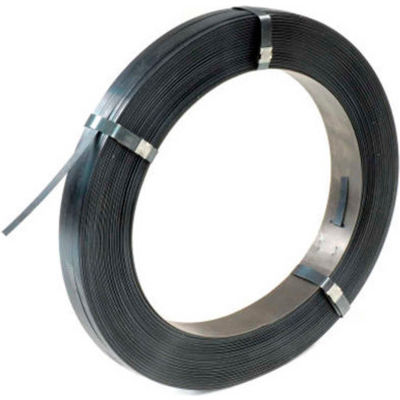 """Pac Strapping Steel Strapping Coil, 2940'L x 1/2""""W x 0.020"""" Thick, Black, 1 Pack"""