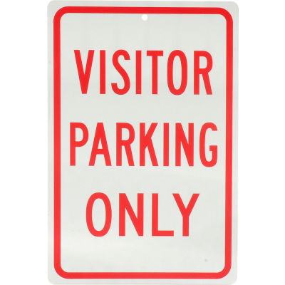 "Global Industrial™ Aluminum Sign - Visitor Parking Only - .063"" Thick, 932136"