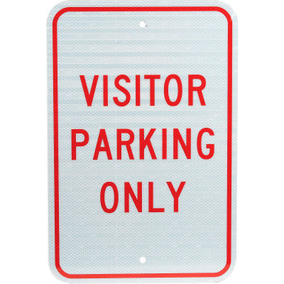 """Aluminum Sign - Visitor Parking Only - .08"""" Thick, TM7J"""