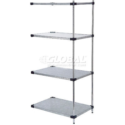 """Nexel® 4 Tier Shelving Add-On Unit, Solid Galvanized Steel, 72""""Wx18""""Dx74""""H"""