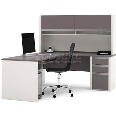 "Bestar® L Desk with Hutch & Pedestal - 71""- Slate & Sandstone - Connexion Series"