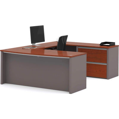 "Bestar® U Desk with Lateral File - 71"" - Bordeaux & Slate - Connexion Series"