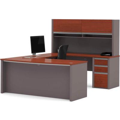 """Bestar® U Desk with Hutch & Pedestal - 71"""" - Bordeaux & Slate - Connexion Series"""