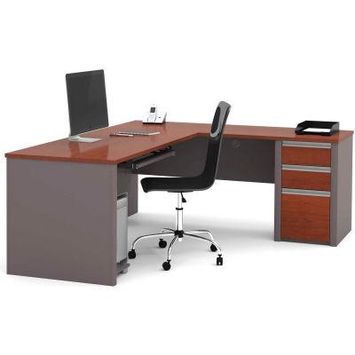 """Bestar® L Desk with Pedestal - 71"""" - Bordeaux & Slate - Connexion Series"""