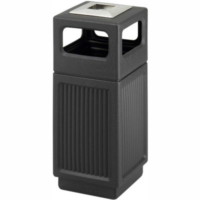 Safco® Canmeleon™ Recessed Panel, Ash Urn, Side Open, 15 Gallon, Black - 9474BL