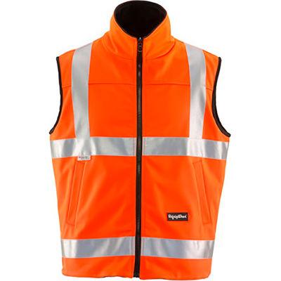 RefrigiWear HiVis Reversible Softshell Vest, Orange/Black, Class 2, 20° Comfort Rating, XL