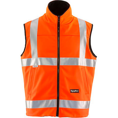 RefrigiWear HiVis Reversible Softshell Vest, Orange/Black, Class 2, 20° Comfort Rating, S