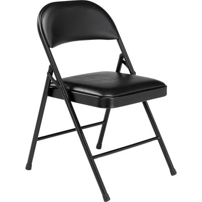 Interion® Steel Folding Chair with Padded Vinyl - Black - Pkg Qty 4