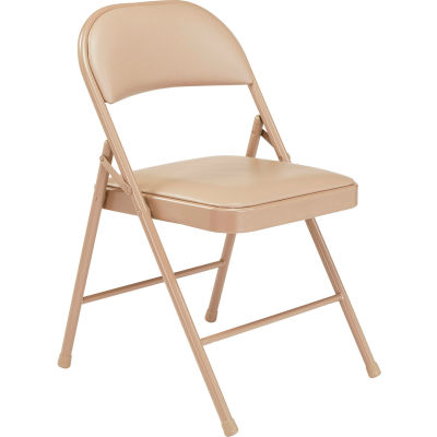Interion® Steel Folding Chair with Padded Vinyl - Beige - Pkg Qty 4