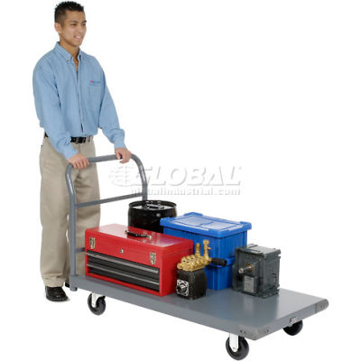 "Global Industrial™ Steel Deck Platform Truck 48 x 24 1000 Lb. Capacity 5"" Polyurethane Casters"