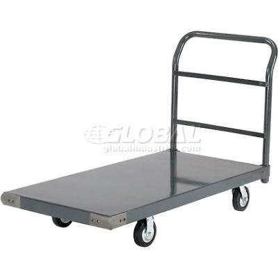 "Global Industrial™ Steel Deck Platform Truck 48 x 30 1400 Lb. Capacity 5"" Rubber Casters"