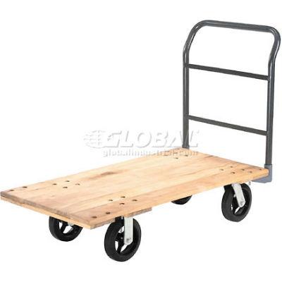 "Hardwood Deck Platform Truck 60 x 30 2400 Lb. Capacity 8"" Rubber Casters"