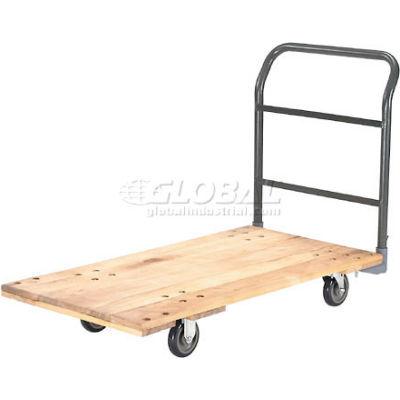 "Global Industrial™ Hardwood Deck Platform Truck 48 x 24 1000 Lb. Cap. 5"" Polyurethane Casters"