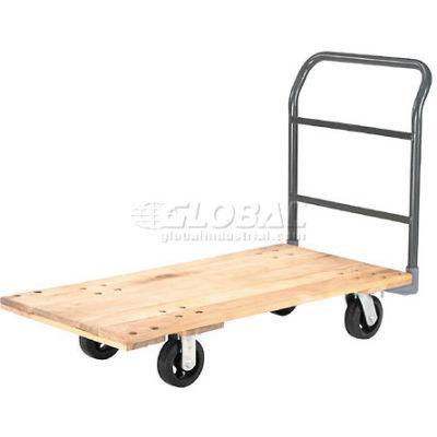 "Global Industrial™ Hardwood Deck Platform Truck 60 x 30 2000 Lb. Capacity 6"" Rubber Casters"